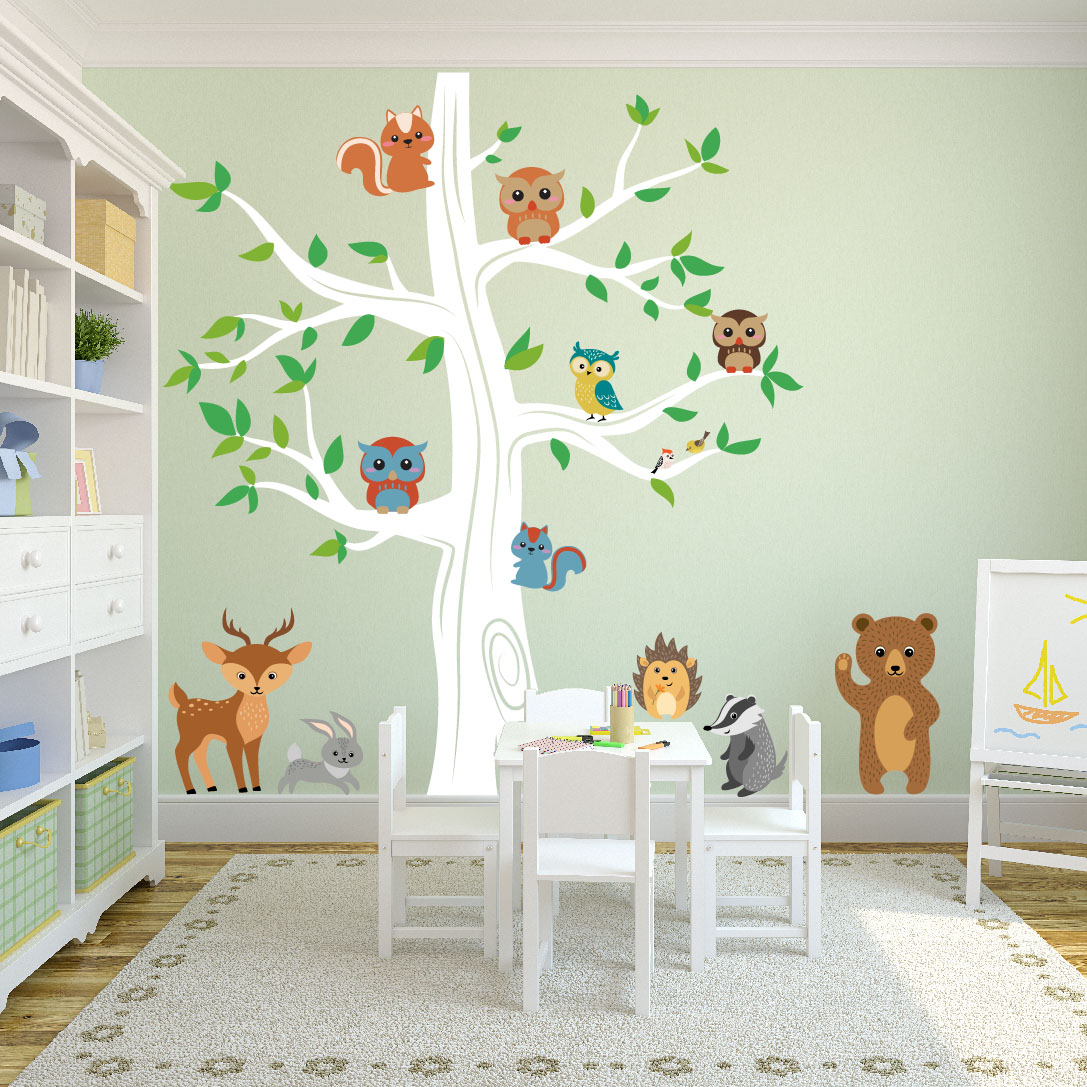 Kids Tree Decal Forest Animals Bear Rabbit