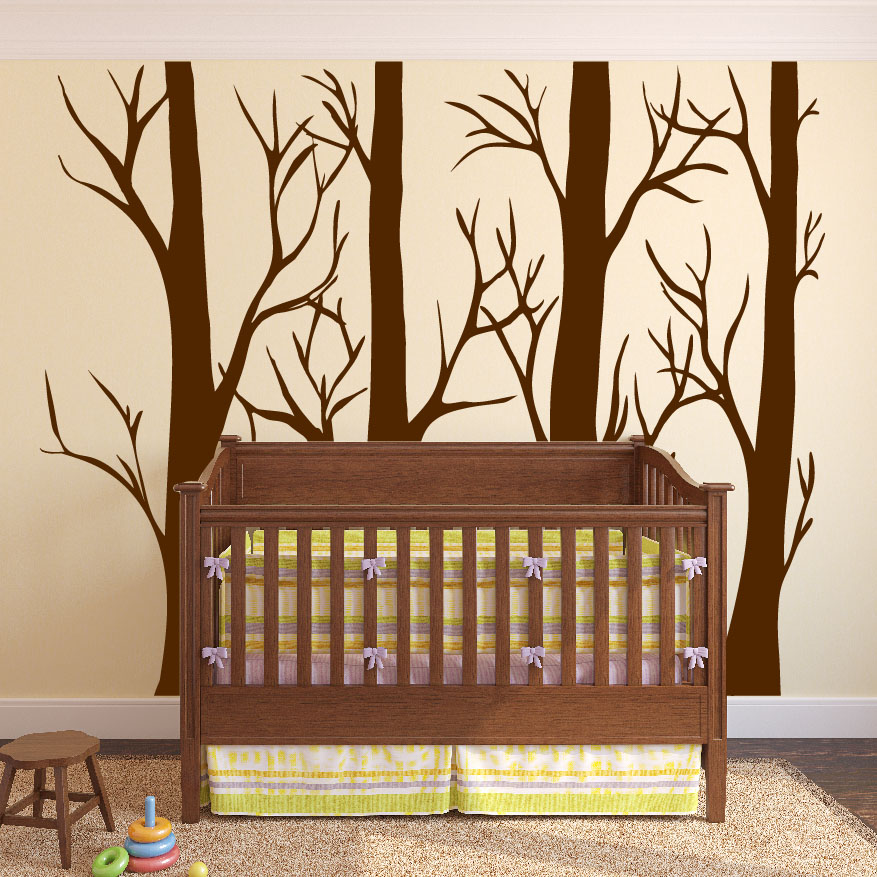 Large Tree Wall Decal Brown Nursery Room