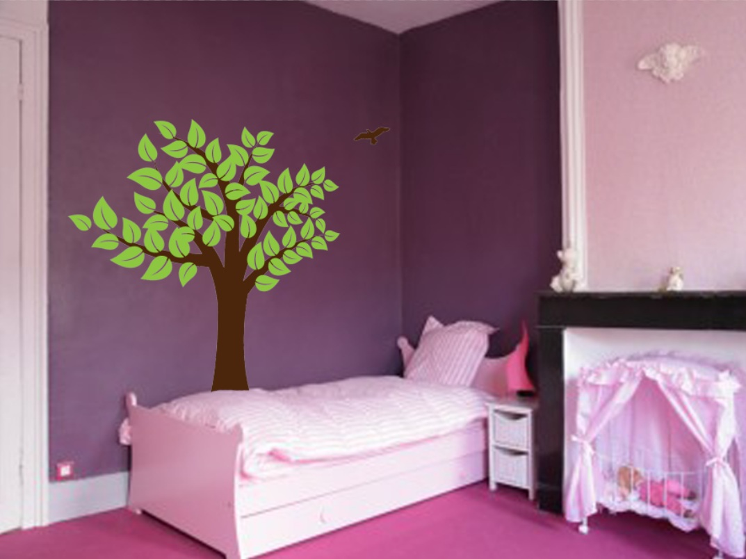 Large Wall Tree Nursery Decal Girl Room Decor with Leaves and Birds