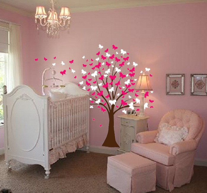 Large Wall Tree Baby Nursery Decal Butterfly Cherry Blossom - Wall decals baby room
