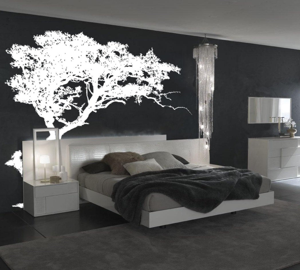 Large wall tree decal forest decor vinyl sticker highly detailed leaning tree vinyl wall decal bedroom decor 1130 amipublicfo Choice Image