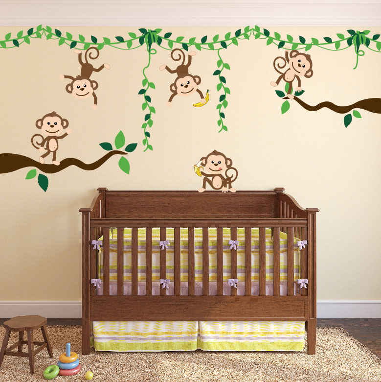 Monkey Jungle Tree Vine Forest Wall Decal Safari Birds Sticker Set - Wall decals jungle