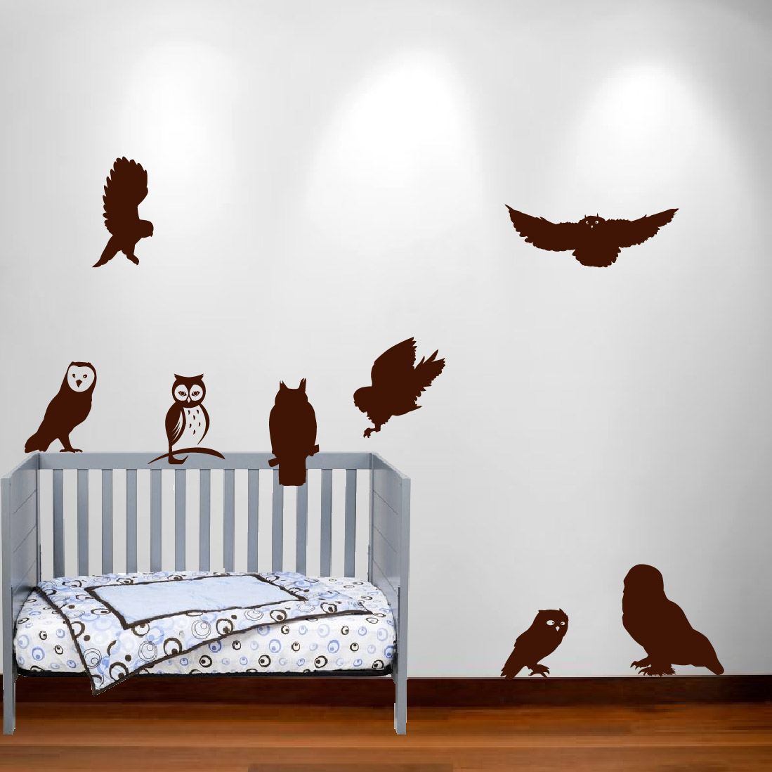 Owl wall decal nursery sticker hunting bird set 1251 nursery owl decal set 1251g amipublicfo Choice Image