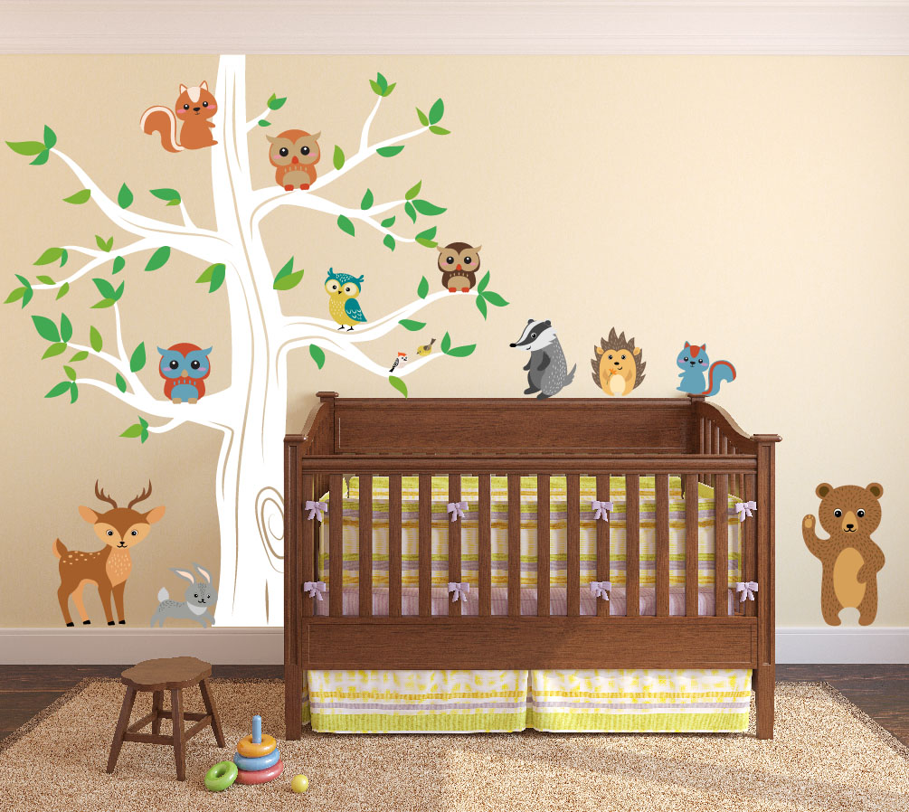 nursery-tree-decal-forest-animals-bear-white.jpg  sc 1 st  Innovative Stencils : woodland creatures wall decals - www.pureclipart.com