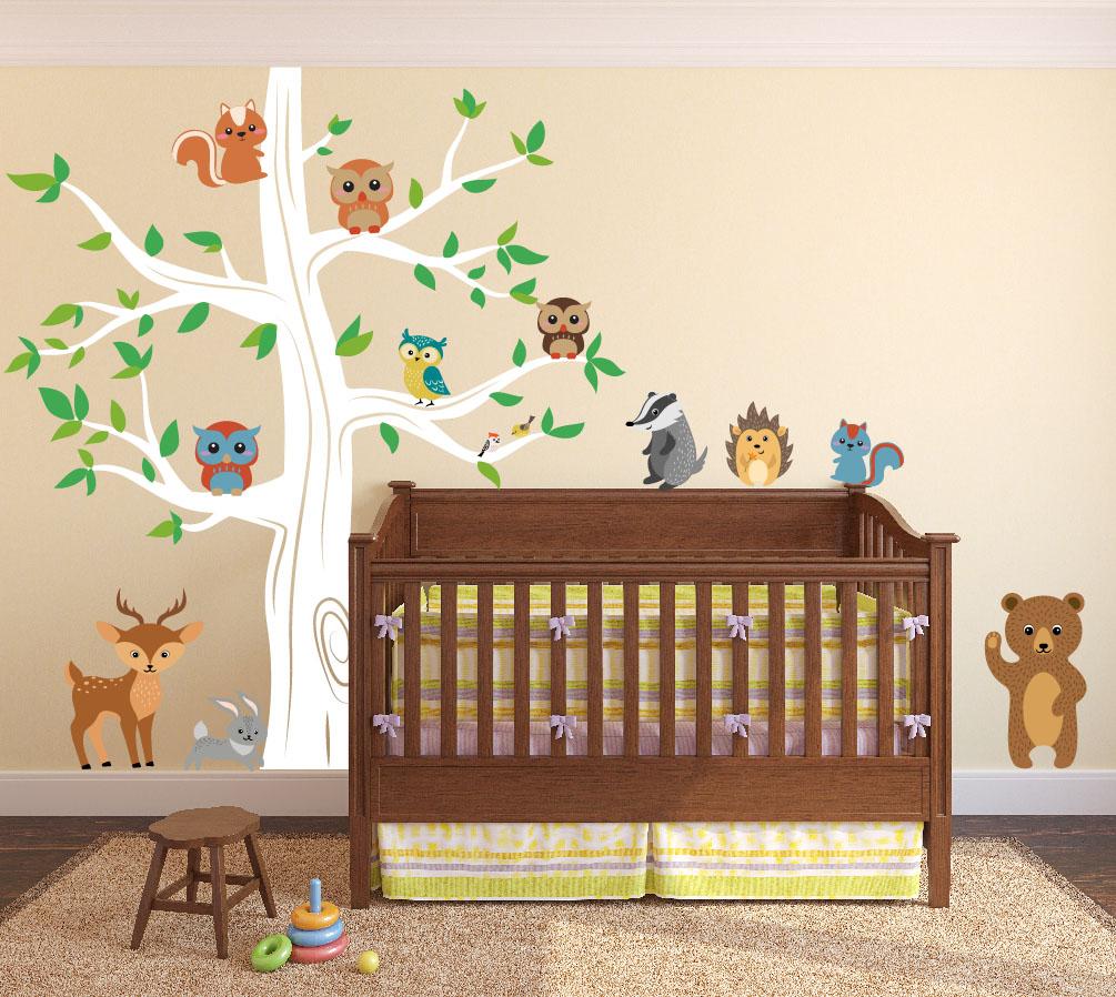 nursery-tree-decal-forest-animals-bear-white.jpg  sc 1 st  Innovative Stencils & Woodland Animals Wall Tree Nursery Decal #1337 - InnovativeStencils