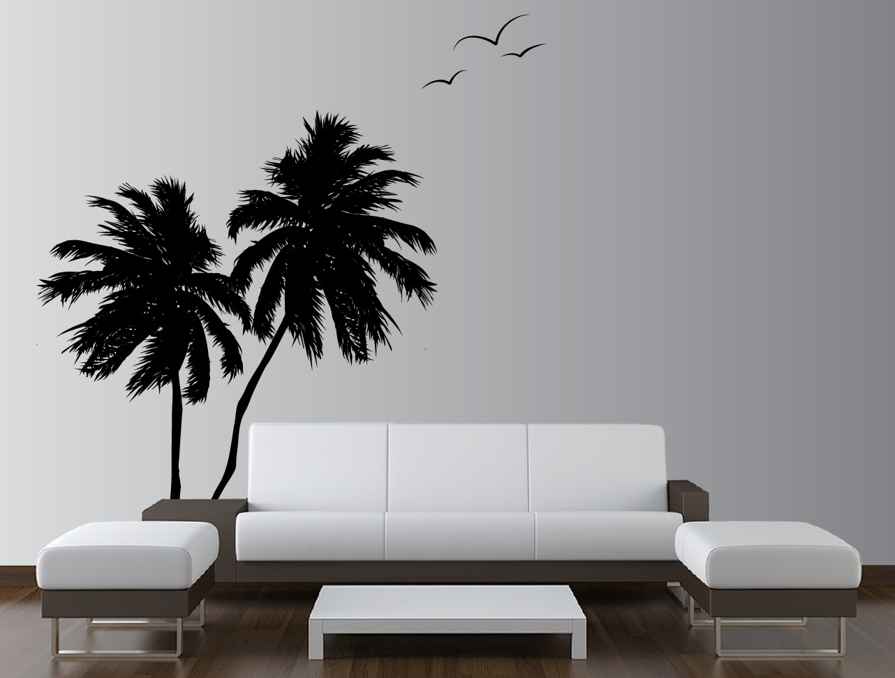 Palm coconut tree wall decal with seagull birds 2 trees 1133 palm trees vinyl decal 1133g amipublicfo Choice Image