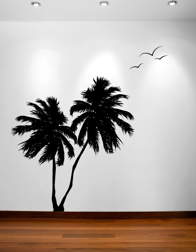 Palm Trees Vinyl Decal With Birds 1133 Part 27
