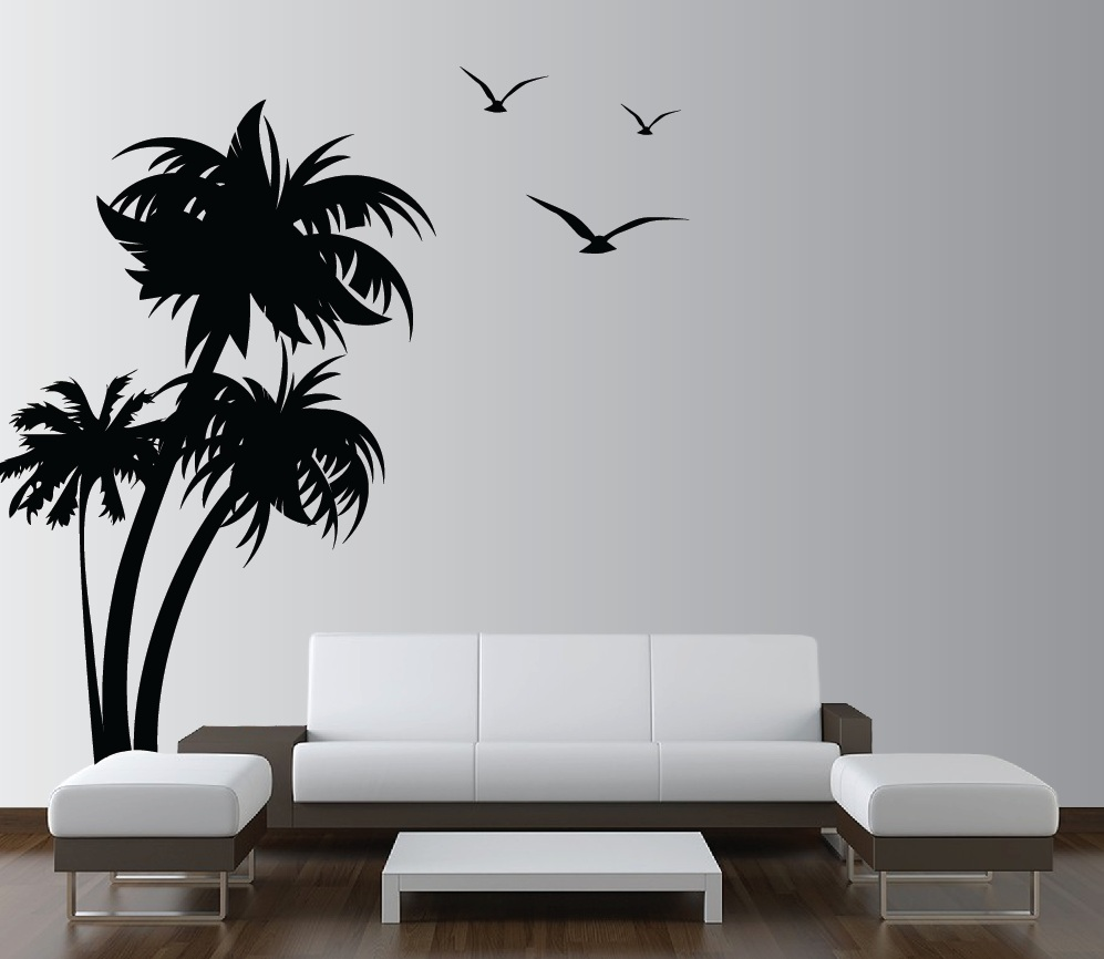 Elegant Palm Trees Vinyl Wall Decal With Seagulls 1132.