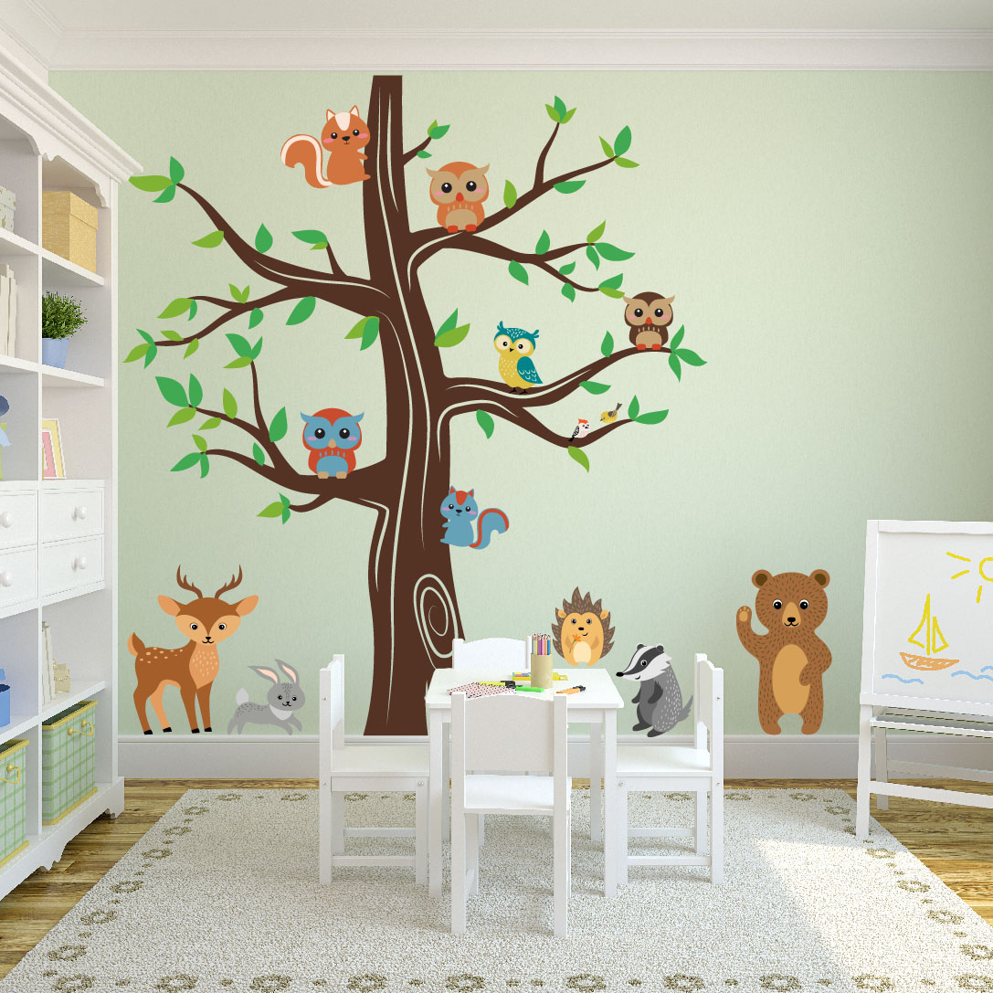 Woodland animals wall tree nursery decal 1337 innovativestencils playroom tree decal forest animals bear whiteg amipublicfo Image collections