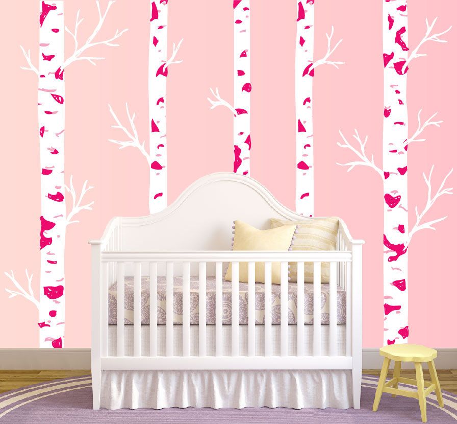 Realistic Birch Tree Wall Decal Girl Nursery Pink. Part 85