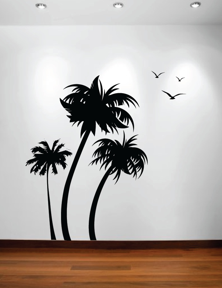 Three Palm Trees Vinyl Wall Decal With Seagulls  Part 49