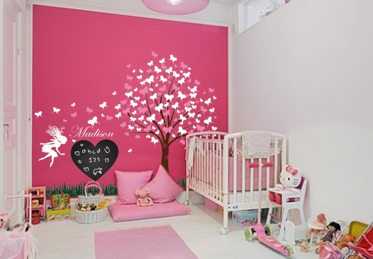 Girl room wall decal set 1176 innovativestencils tree decal with ladybugs fairy and butterlfies chalkboard amipublicfo Gallery