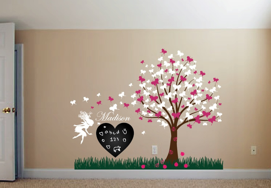 tree decal with ladybugs fairy and butterlfies girl. Girl Room Wall Decal Set  1176   InnovativeStencils