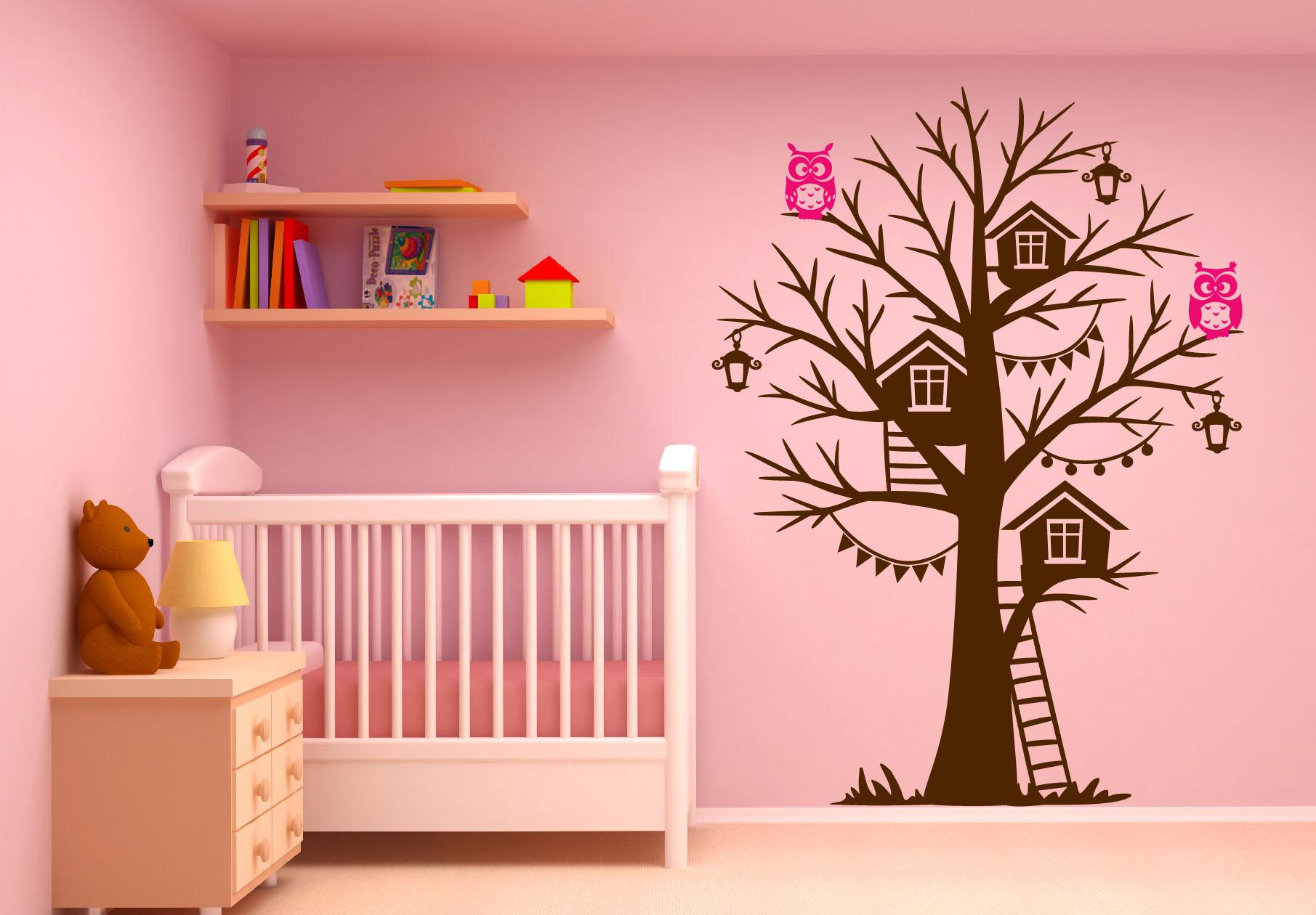 Tree House Owl Wall Decal Girl Room
