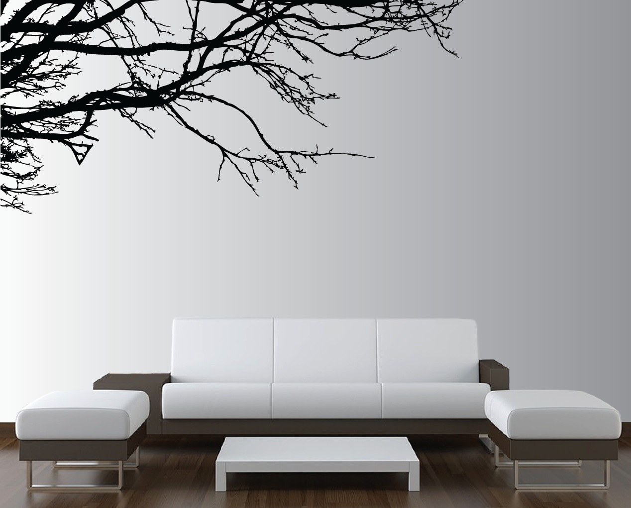 Large wall tree nursery decal oak branches 1130 for Living room wall decor