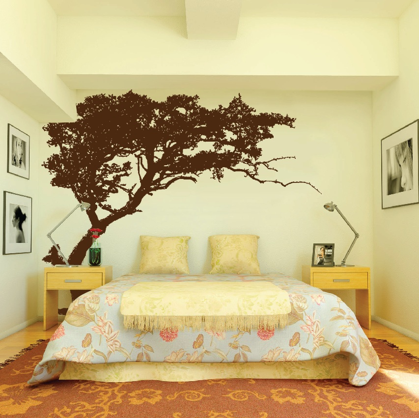 Large wall tree decal forest decor vinyl sticker highly for Large tree template for wall