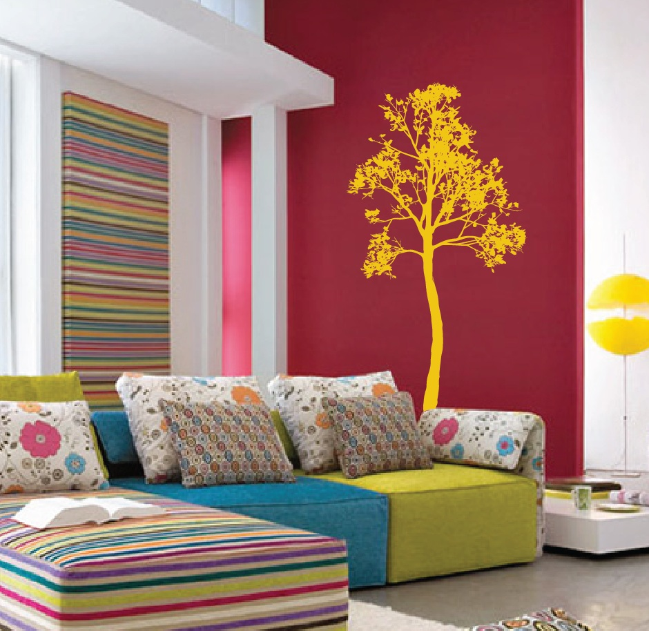 Large wall simple spring tree decal forest decor vinyl for Modern nursery decor
