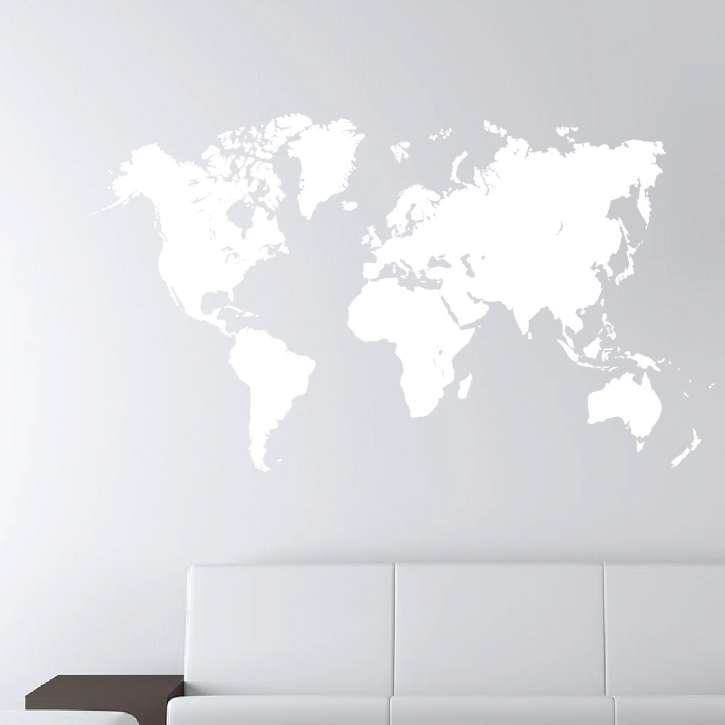World map earth wall decal sticker atlas globe art 1248 whiteg gumiabroncs Choice Image
