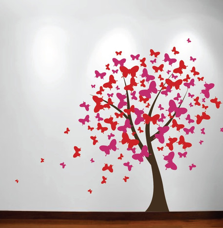 Pink Wall Decals butterfly tree nursery wall decal #1140 - innovativestencils