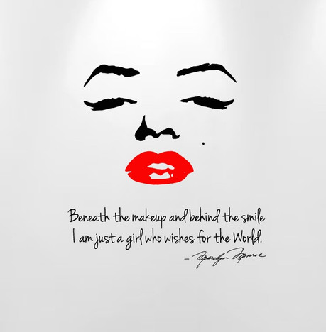 Marilyn Monroe Beneath The Makeup And Behind The Smile... Quote Wall Decal  #1151