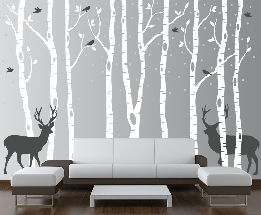 birch tree winter forest vinyl wall decal. Black Bedroom Furniture Sets. Home Design Ideas