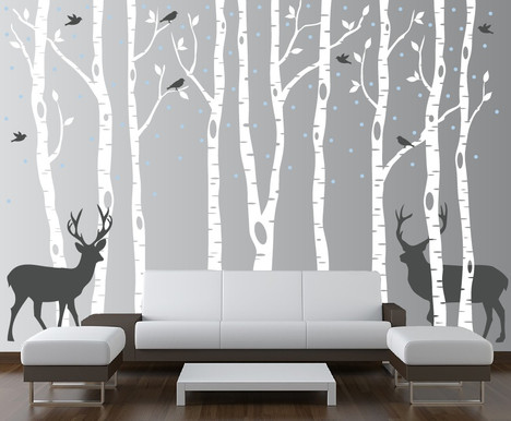 Merveilleux Birch Tree Winter Forest Set Vinyl Wall Decal #1161