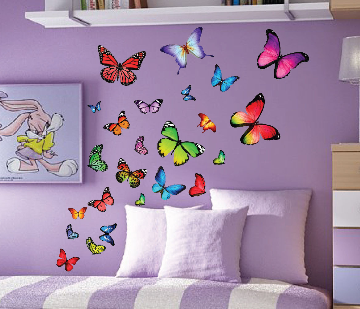 Colorfull butterfly nursery kids wall decals set of 40 for Butterfly wall mural stickers