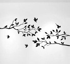 "Tree Branches Wall Decal with Birds Vinyl Sticker Nursery Leaves 40"" Wide X 18"" High #1234"