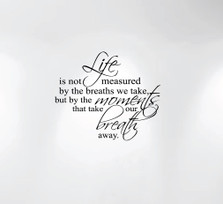 Life Is Not Measured By the Breaths We Take... Wall Decal Nursery Quote #1235