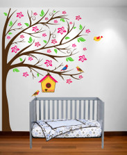 nursery tree birdhouse decal