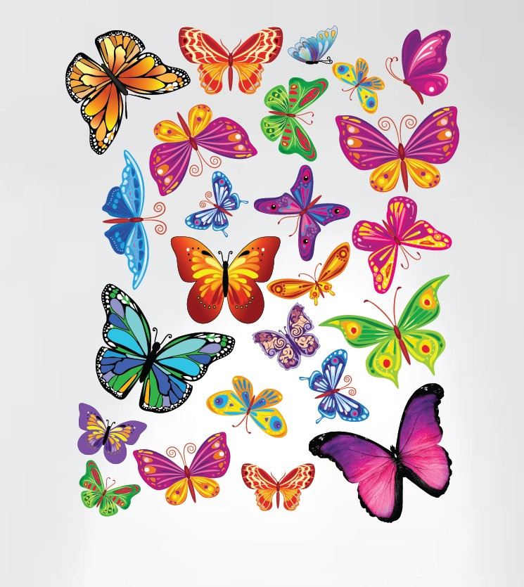 Easy Peel and Stick Colorful Butterflies Nursery Decal ...
