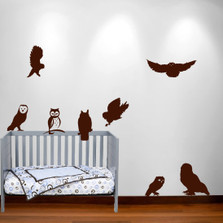 Owl Wall Decal Nursery Sticker Hunting Bird Set #1251