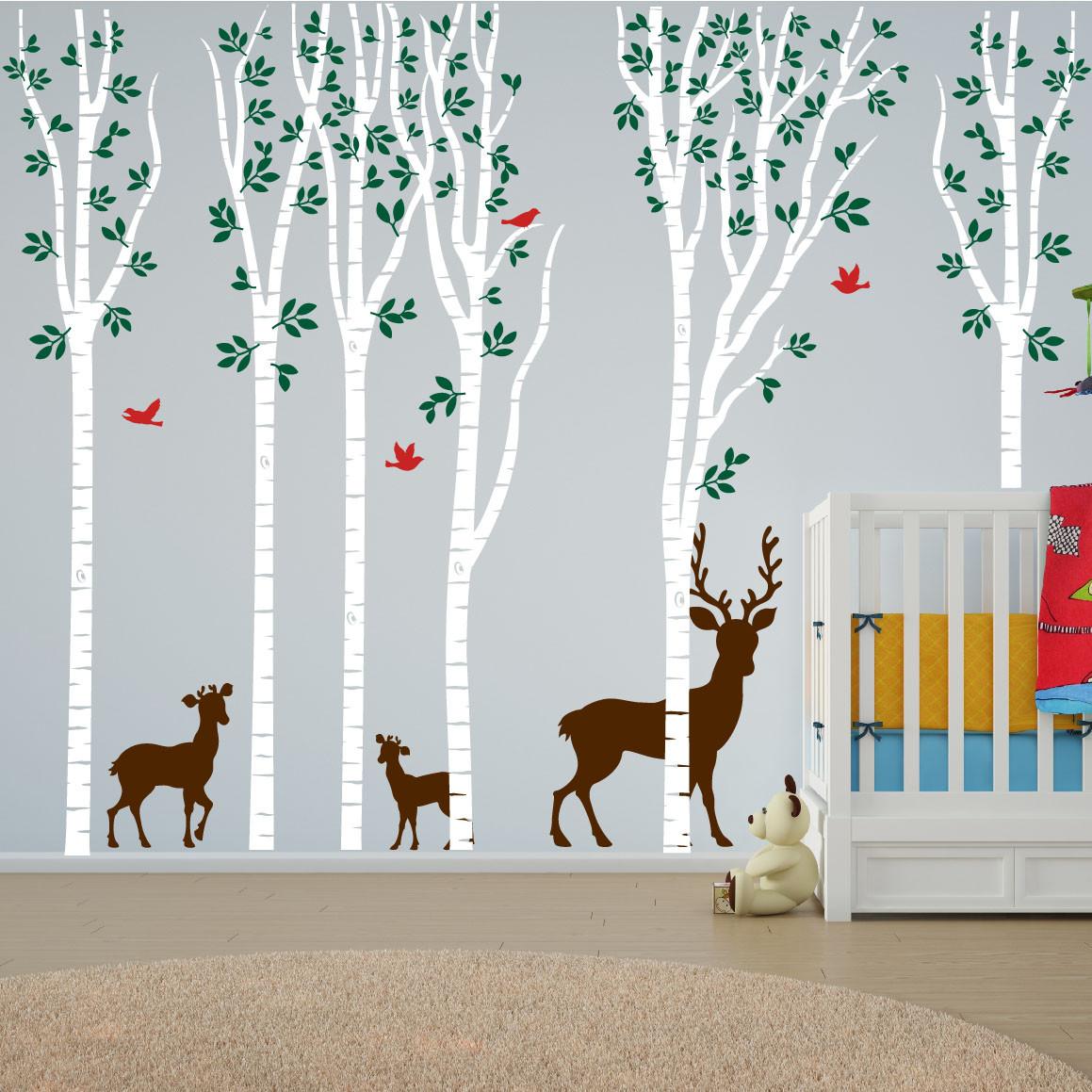 Birch tree forest set vinyl nursery wall decal deer 1264 for Deer wall mural