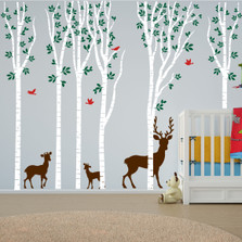 Birch Tree Forest Set Vinyl Nursery Wall Decal Deer #1264