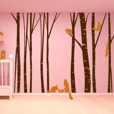 Birch Tree Forest Set Vinyl Wall Decal Nursert Art Squirrels #1230 Part 75