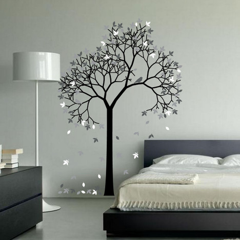 Aspen Tree Wall Decal Sticker Vinyl Nursert Art Leaves And Birds #1267