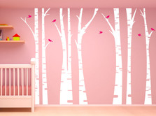 Birch Tree Forest Set Vinyl Wall Decal Birds #1295