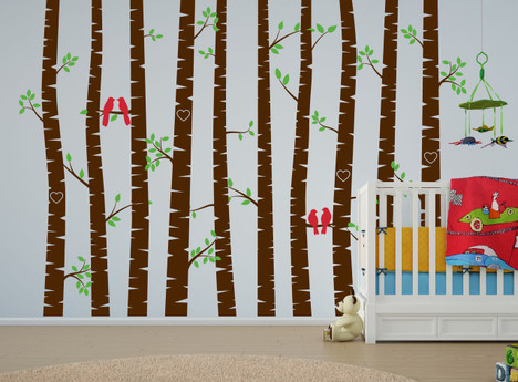 Birch Tree Forest Set Vinyl Wall Decal Love Bird - Vinyl wall decals birch tree