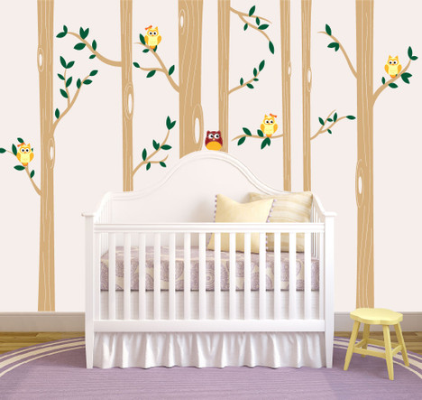 Birch Tree Forest Set Vinyl Wall Decal Owls Nursery - Vinyl wall decals birch tree