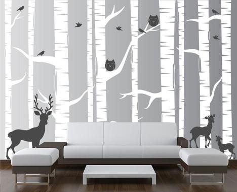 Birch Tree Forest Set Vinyl Wall Decal Owls Deer #1323