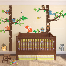 Birch Tree Forest Wall Decal with Creatures #1327