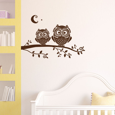 Tree Branch Owls Wall Decal Nursery #1278