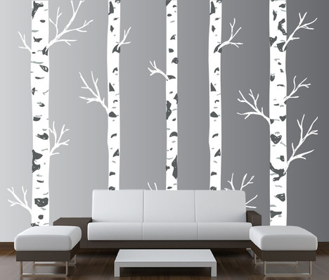 Large Wall Vinyl Tree Forest Decal Birch Woodland Nursery Sticker