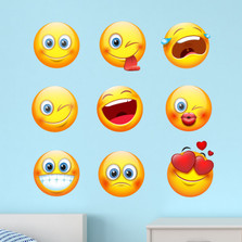 Large Emoji Emoticon Faces Peel and Stick Fabric Wall Decal Sticker Removable and Reusable Set of 9