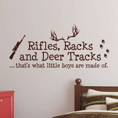 Rifles Racks And Deer Tracks Boys Hunting Wall Decal Nursery Sticker #1279