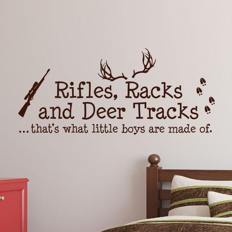 Rifles Racks And Deer Tracks Boys Hunting Wall Decal Nursery Sticker #1279