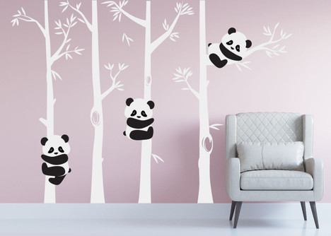 Panda Bear Bamboo Tree Wall Nursery Decal #1350