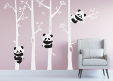 Panda Bear Bamboo Tree Wall Nursery Decal #1350