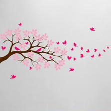 Tree Branch Wall Decal Butterfly Birds Vinyl Sticker Nursery Leaves #1371
