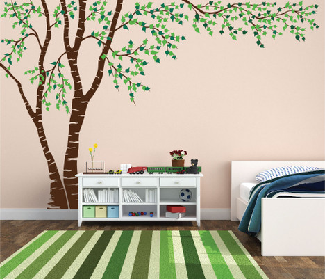 Birch Tree Forest Canopy Blowing Leaves Vinyl Wall Decal - Vinyl wall decals birch tree